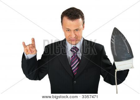 Angry Businessman Gangster With Iron