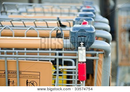 a row of empty shopping carts in front of store