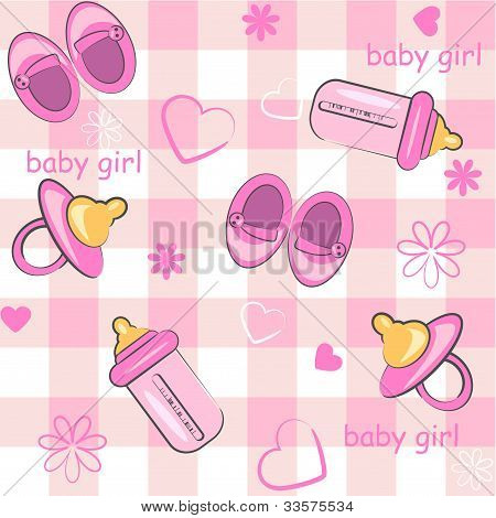 baby girl wrapping and background. baby shower icons