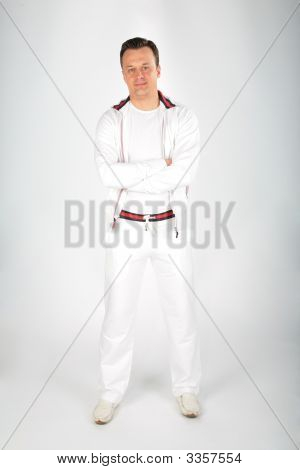 Young Man In White Sporst Suit