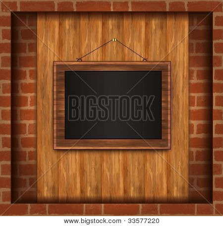 Blackboard Frame Photo Brick Wall