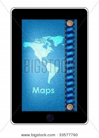 Especial Tablet Pc computador com Design de Jeans azul