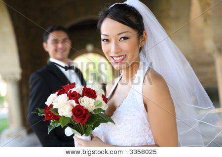 Bride And Groom At Wedding