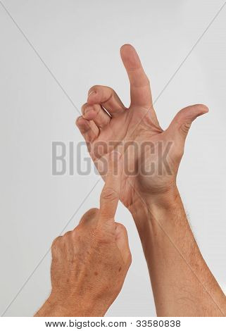 Male Hand Holding Invisible Smartphone
