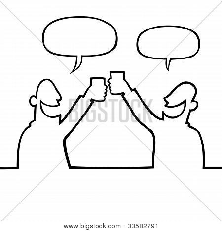 Two People Toasting With Drinks