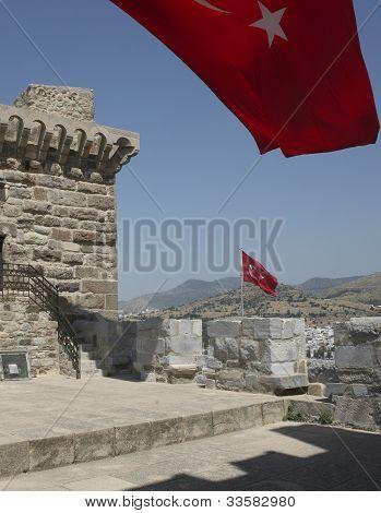Turkey flag on Bodrum castle