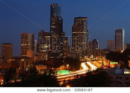 Seattle Downtown Cityscape Twilight