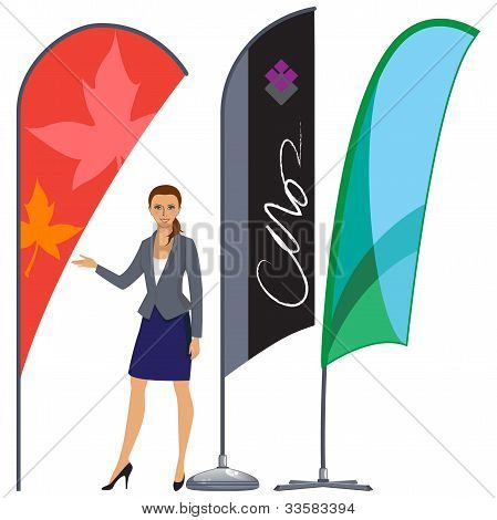 Banner flag set and business woman