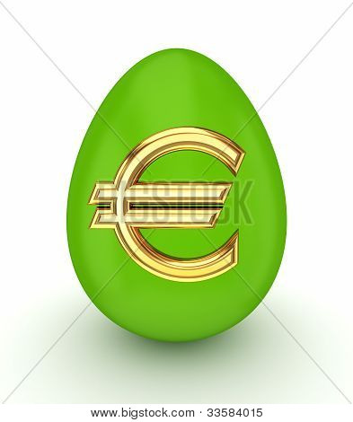 Green egg with a golden euro sign.