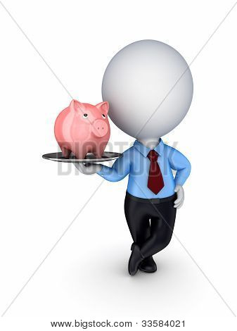 3d small person with a pink piggy bank on a dish.