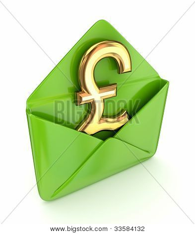 Pound sterling sign with a green envelope.