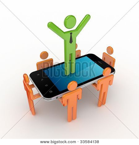 3d small people and modern mobile phone.