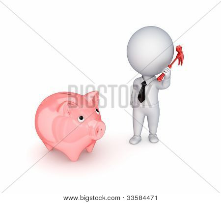 3d small person with a hammer and piggy bank.