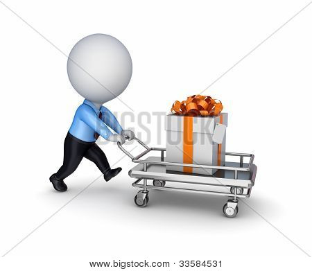 3d small person, shopping trolley and gift box.