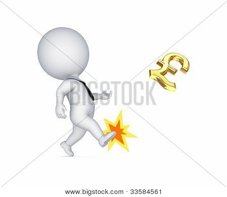 3d small person kicking a pound sterling sign.