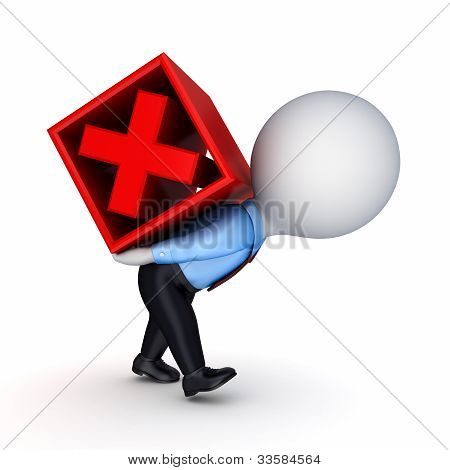 3d small person and red cross mark.