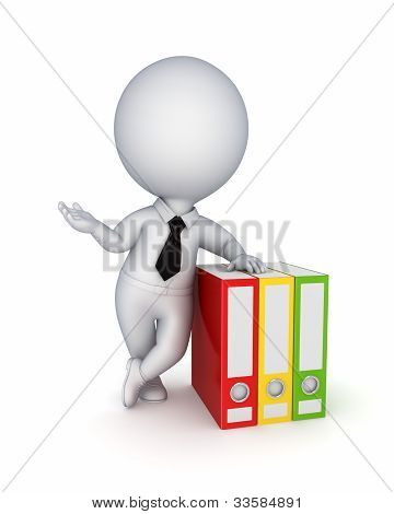 3d small person and colorful folders.