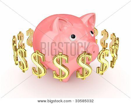 Dollarzeichen um Rosa Sparschwein.