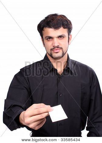 Indian Businessman Giving Business Card