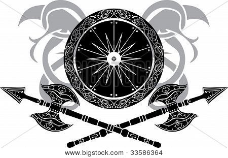 Viking shield with crossing axes