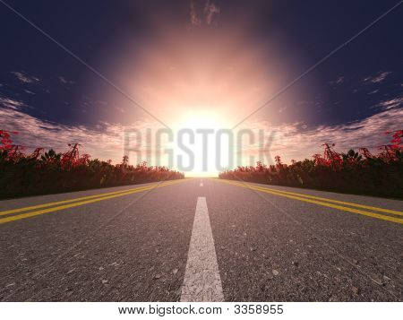 Highway And Sunset