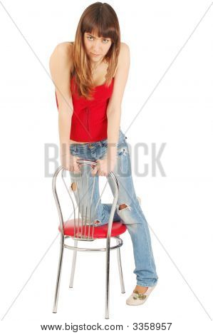 Beautiful Sexy Girl On A Chair