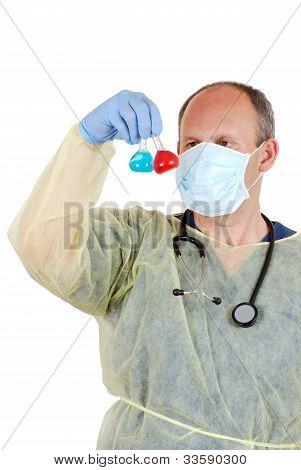 Doctor examining two laboratory samples