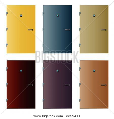 Various Isolated Detailed Vector Doors