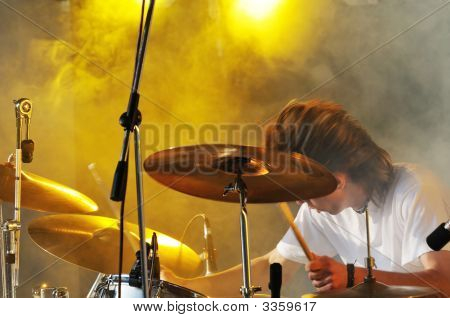 Drummer Play On Concert
