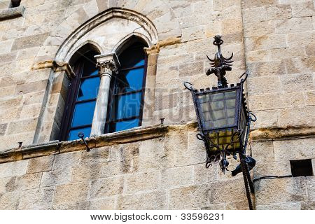 Ancient Streetlight In Priori Square At Volterra  In Tuscany, Italy