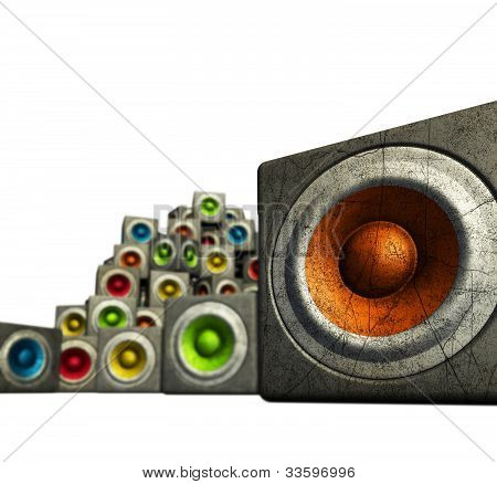 3D Stack Of Multiple Color Cubic Grunge Sound System Woofer On White