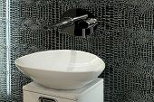 image of lavabo  - Artistic style oval basin with special mirror tiles - JPG