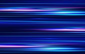 Motion Light Effect For Banners. Blue Lines. The Effect Of Speed On A Blue Background.  Red Lines Of poster