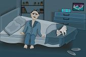 Man Suffers Insomnia. Sad Caucasian Male Mascot With Insomnia Symptoms. Old Male Sitting On A Bed In poster