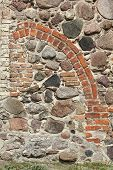stock photo of fieldstone-wall  - The village church in Wensickendorf north of Berlin was built in 1438 - JPG