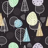 Seamless Pattern With Cartoon Trees, Decor Elements On A Neutral Background. Flat Vector. Hand Drawi poster