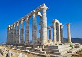 foto of poseidon  - Poseidon Temple at Cape Sounion near Athens Greece  - JPG