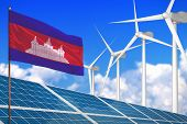 Cambodia Solar And Wind Energy, Renewable Energy Concept With Windmills - Renewable Energy Against G poster