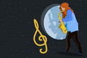 Girl Musician Playing The Saxophone. Jazz Musical Style. Music Creative Concept. Jazz Singer, Concer poster
