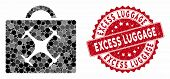 Mosaic Drone Toolbox And Grunge Stamp Watermark With Excess Luggage Caption. Mosaic Vector Is Design poster
