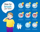 How To Brush Your Teeth Instruction. Health Care Concept Info Graphic. Vector Cartoon Dental Info-gr poster