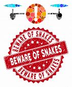 Mosaic Quadcopter Problem And Rubber Stamp Seal With Beware Of Snakes Text. Mosaic Vector Is Compose poster