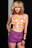 pic of halter-top  - Pretty slim blonde in vintage halter and shorts - JPG
