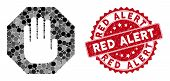 Mosaic Terminate And Corroded Stamp Seal With Red Alert Caption. Mosaic Vector Is Composed With Term poster
