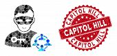 Mosaic Social Hacker And Grunge Stamp Seal With Capitol Hill Caption. Mosaic Vector Is Designed With poster