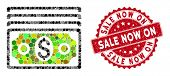 Mosaic Banknotes And Grunge Stamp Seal With Sale Now On Caption. Mosaic Vector Is Composed From Bank poster