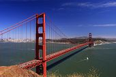 foto of golden gate bridge  - Daytime shot of Golden Gate Bridge under a bright blue sky - JPG