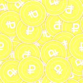 Russian Ruble Gold Coins Seamless Pattern. Classic Scattered Yellow Rub Coins. Success Concept. Russ poster