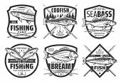 Fishing Club, Fisher Camp And Big Fish Catch Icons. Vector Icons Of Sea And River Fishing For Codfis poster