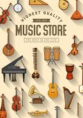 Music Instruments Store Poster, Professional Pop And Jazz Band Musical Equipment. Vector Folk, Class poster
